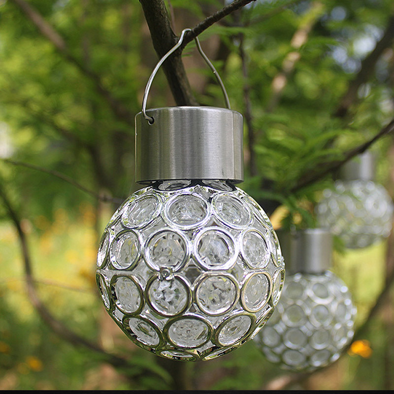 Solar LED Hanging Light Lantern Waterproof Hollow Out Ball Lamp For Outdoor Garden Yard Patio QJ888