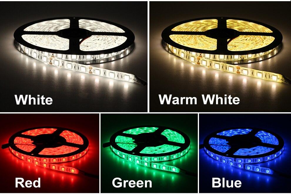 HTB1UO9LPSzqK1RjSZFjq6zlCFXaW RGB LED Strip Light 5050 2835 DC12V Neon Ribbon Waterproof Flexible LED Diode Tape 60LEDs/m 5M 12V LED Strip for Home Decoration