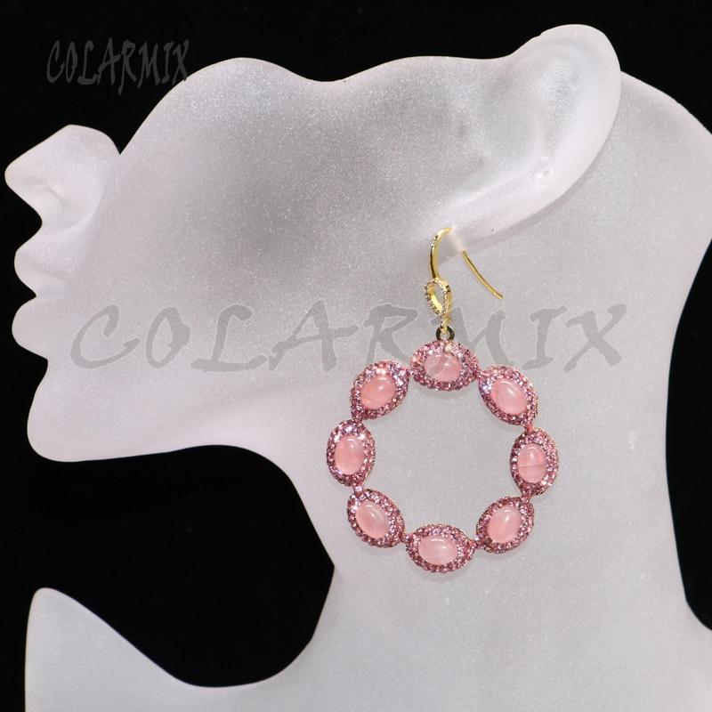 5 pairs pink crystal earrings drop earrings for women 8 stones jewelry round dangle earrings druzy