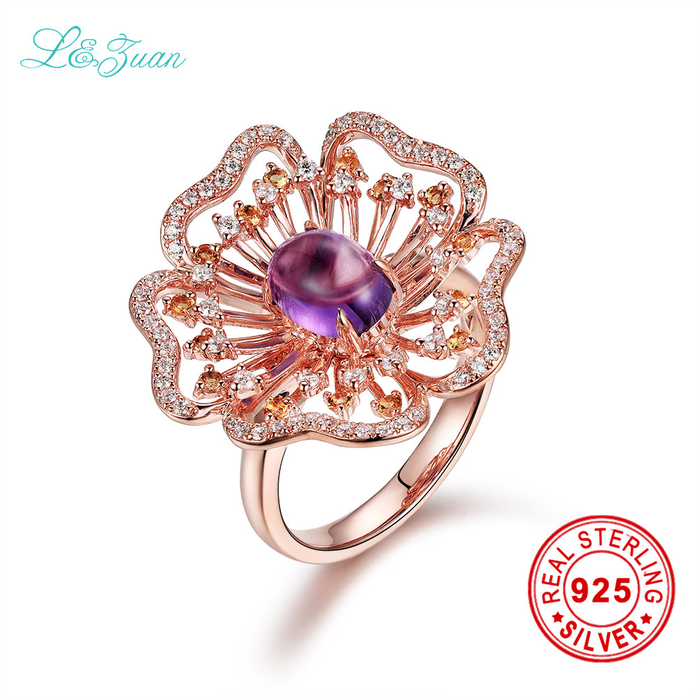 I&zuan Brand Luxury S925 Silver Natural Purple Amethyst Prong Setting Romantic Beautiful Ring Jewelry gift