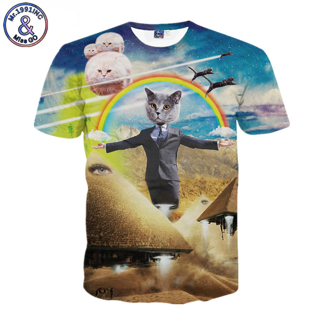 875bb0e985deb1 Women Men The Pawtician T-Shirt cat politician rocket pyramids Cat UFOs  rainbows 3d Summer T shirt Brand Clothing
