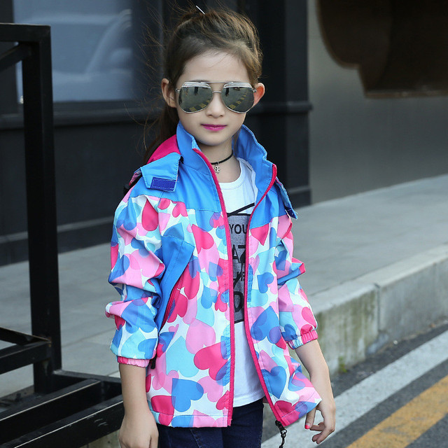 New 2017 Spring Children Jacket For Girls Fashion Floral Print Outwear Waterproof Windproof Hooded Coats Casual Kids Clothes Hot