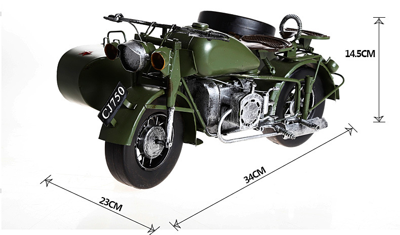 ФОТО 1pcs 13.3inch hand made metal traditional Changjiang750.ver Three wheel green army motorcycle model for desk deck