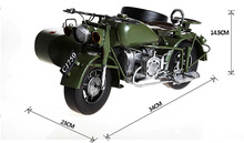 1pcs 13 3inch hand made metal traditional Changjiang750 ver Three wheel green army motorcycle model for