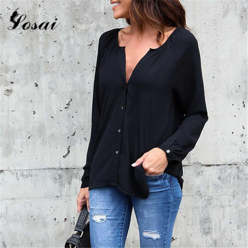 プラスサイズ S-5XL 女性のセクシーな V ネックボタンダウンシャツシフォンブラウス女性のシャツエレガントなオフィスの女性のブラウス Blusa トップス feminina