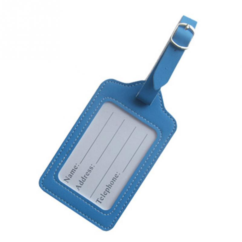 Travel PU Leather Luggage Tag Accessories Suitcase ID Address Holder Baggage Portable Label Checked Boarding
