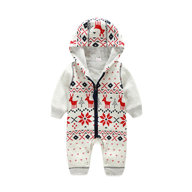 e9d40df35 Winter Christmas Elk Jumpsuits Baby Hooded Zipper Clothing ...