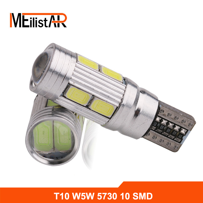 2Pcs T10 W5W LED Bulbs 10SMD CANBUS OBC Error Free LED Lamp 501 dash Car LED bulbs interior Auto Lights Source parking 12V 100pcs lot t10 5 smd 5050 led canbus error free car clearance lights w5w 194 5smd light bulbs no obc error white