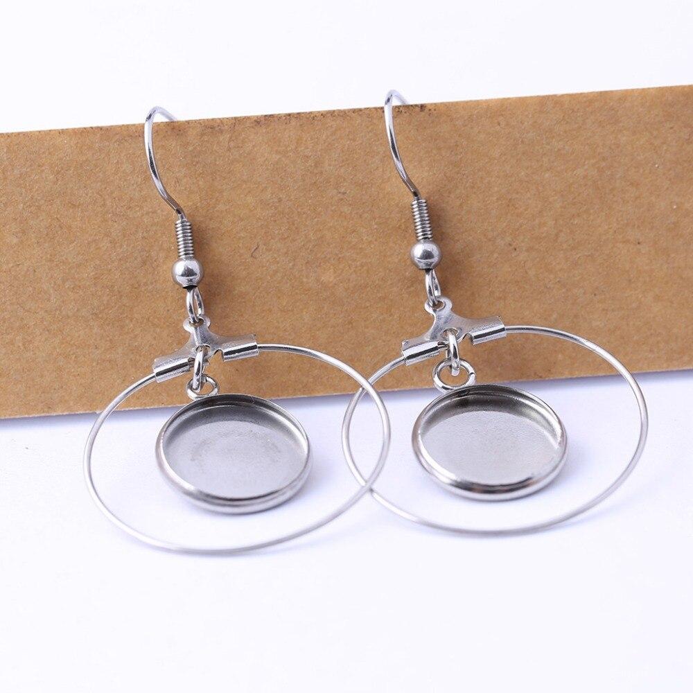 Onwear 10 pairs edelstahl blank cabochon ohrring basis einstellung trays diy ohrringe hoops erkenntnisse für schmuck machen