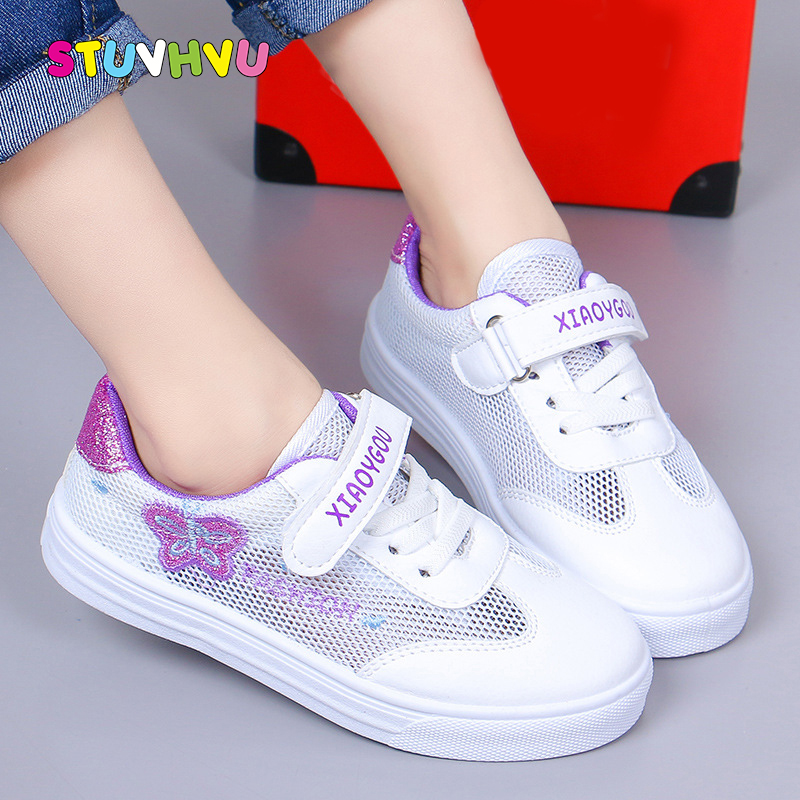 Girls Shoes White Sneakers Mesh Breathable Kids Sport Shoes 2019 New Children's Sneakers Students School Running Shoes For Girls