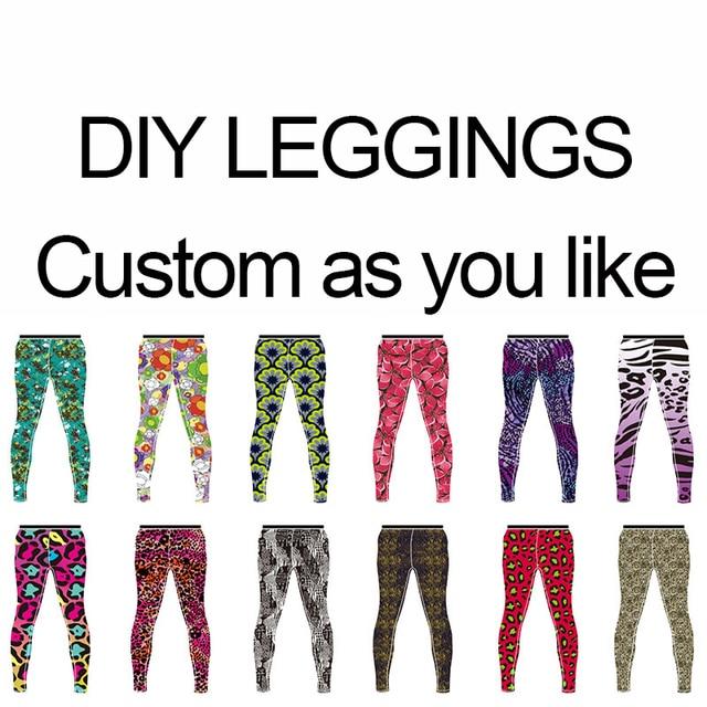 US $15 29 |DIY sport leggings custom printed leggings women men running  leggings gym fitness legging pants brand design pants 1 piece-in Leggings  from