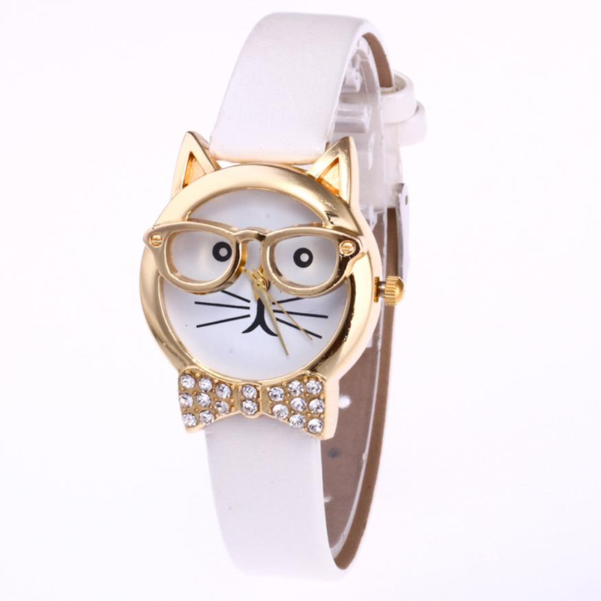 Women's Watches Cute Glasses Cat Women Analog Quartz Dial Wristwatch Bangle Bracelet montre femme reloj mujer relogio 17Jun20 l 10 women s stylish petals style bracelet quartz analog wristwatch golden white 1 x lr626