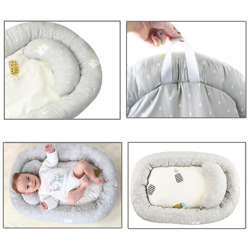 Newborn Foldable Cot Baby Nest Bed Breathable Lounger Sleeping Bed Cotton Portable Crib For Bedroom Baby Bionic Moses Basket