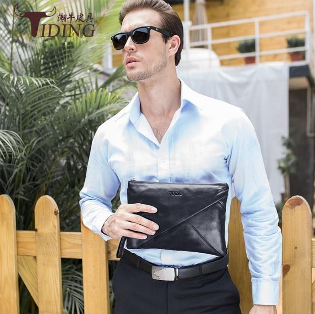 Mannen Clutch Bag Koe Lederen Handtas Telefoon Geld Bag Real Leather Lange Walllet Business Mannen Koppelingen Purse Luxe Lange Clutch tassen - 2