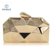 Women bag 2017 Europe and the United States new diamond-shaped box high-end everning metal irregular geometric handbag