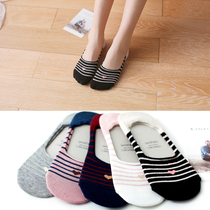 2018 New Product Woman Socks Spelling  Stripe Love Socks Silica Gel Non-slip Boat Socks Low Help Shallow Mouth 1pair=2pcs Ws401