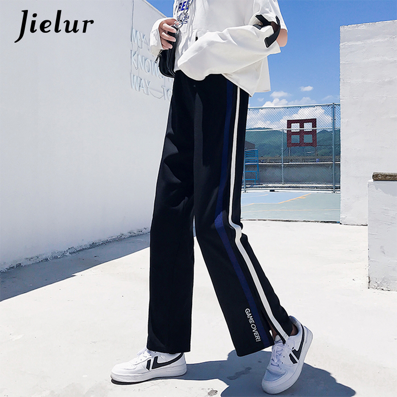 Jielur 2019 Autumn Ankle-length   Pants   New Korean Casual Trousers for Women Loose Sweatpants Letter Embroidery   Wide     Leg     Pants   2XL
