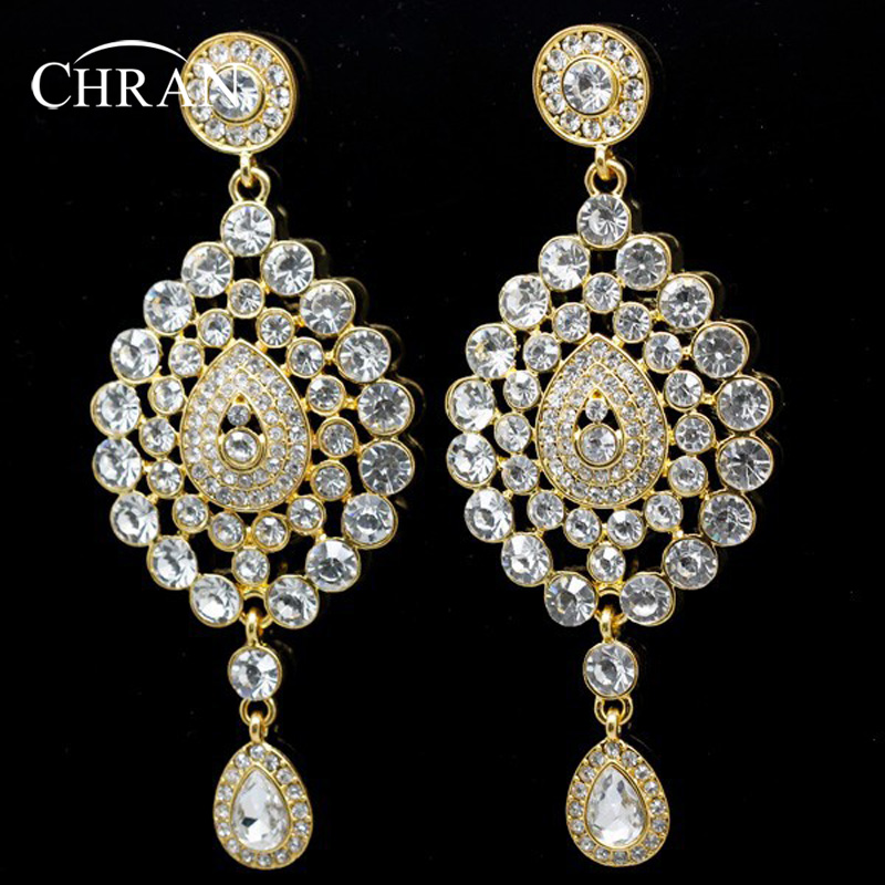 Chran New Fashion Gold Color Rhinestone Alloy Indian Style Big Bridal Drop Earring Wedding Jewelry  -  Store store