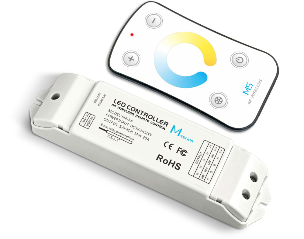 M5+M4-5A;M5 touch remote with M4-5A CV Receiving controller;DC5V-DC24V input;5A*4CH Max 20A output m3 m4 5a m3 touch rf remote with m4 5a cv receiver led dimmer controller dc5v dc24v input 5a 4ch max 20a output