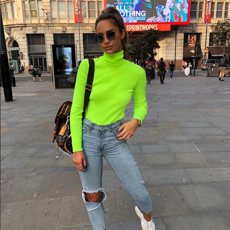Us 824 45 Offgtpdpllt Long Sleeve Turtleneck Knitted Women Top 2018 Autumn Winter Fashion Slim T Shirt Tees Solid Green Casual Women T Shirt In