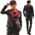 Plus Size Customized Men's Jacket Black PU leather Rivets Slim Costume Male Dj Singer Stage Performance Wear Outerwear Blazer