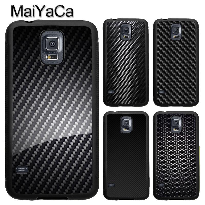 MaiYaCa Black Carbon Fibre Pattern Print Soft TPU Phone Case Cover Coque For Samsung S4 S5 S6 S7 edge S8 S9 plus Note 8 5 4 Capa