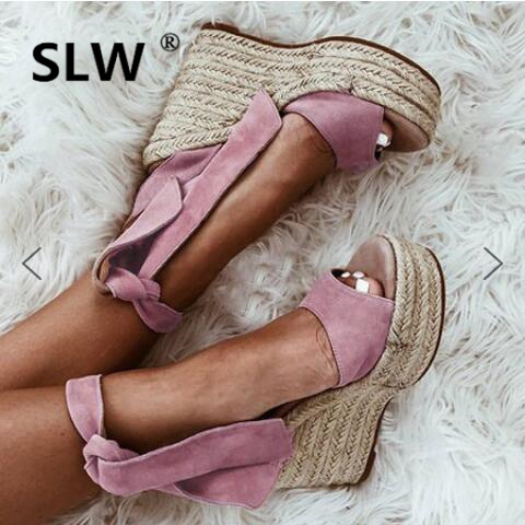 Comfort Shoes For Women High Heel Sandals 2019 Summer Espadrilles Platform Large Size Suit Female Beige Strappy Heels Clogs(China)