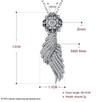 Luxury 100% sterling silver 925 zircon inlaid jewelry angel wings necklace compatible with Original elegant quality authentic