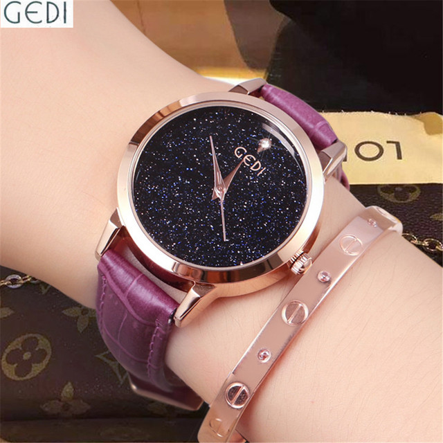 Woman Watches Brand Luxury Famous GEDI Ladies Simple Fancy Clock Water Resistant Starry Sky Girls Trendy Dames Horloges