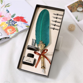 10 Style Classic Antique Feather Pen Metal Nib Writing Pen With Beautiful Gift Box Christmas Wedding Gift Quill Fountain Pen 1