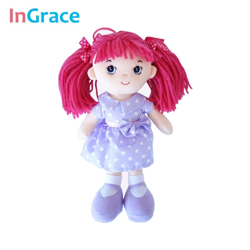 InGrace rødt hår søtt mini søt dukke for baby jenter med lilla bomullskjole vakre og høy kvalitet jenter gave leker 25cm