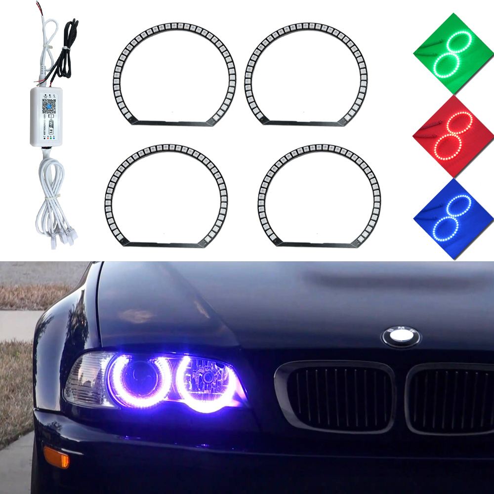 RGB Multi-Color 5050 WIFI Control LED SMD Angel Eye Kit Xenon Headlight For BMW E36 E38 E39 E46 3 5 7 Series 12V Car Light soure 4x xenon rgb remote multi color led angel eyes kit for bmw e90 2006 2008 e60