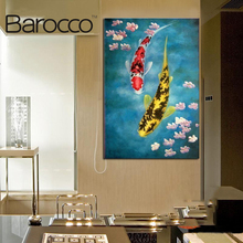 Modern abstract  Oil Painting On Canvas huge wall art fish game with lotus Free shipping