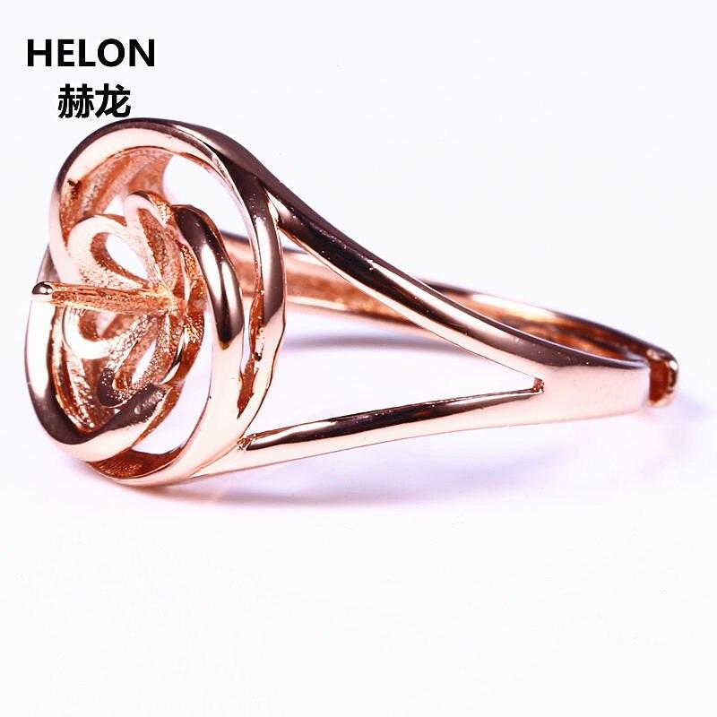 Серебро 925 Розовое золото Цвет Для женщин Обручение обручальное кольцо жемчуг или круглый шарик Янтарный Агат Маунт Semi УСТАНОВКА