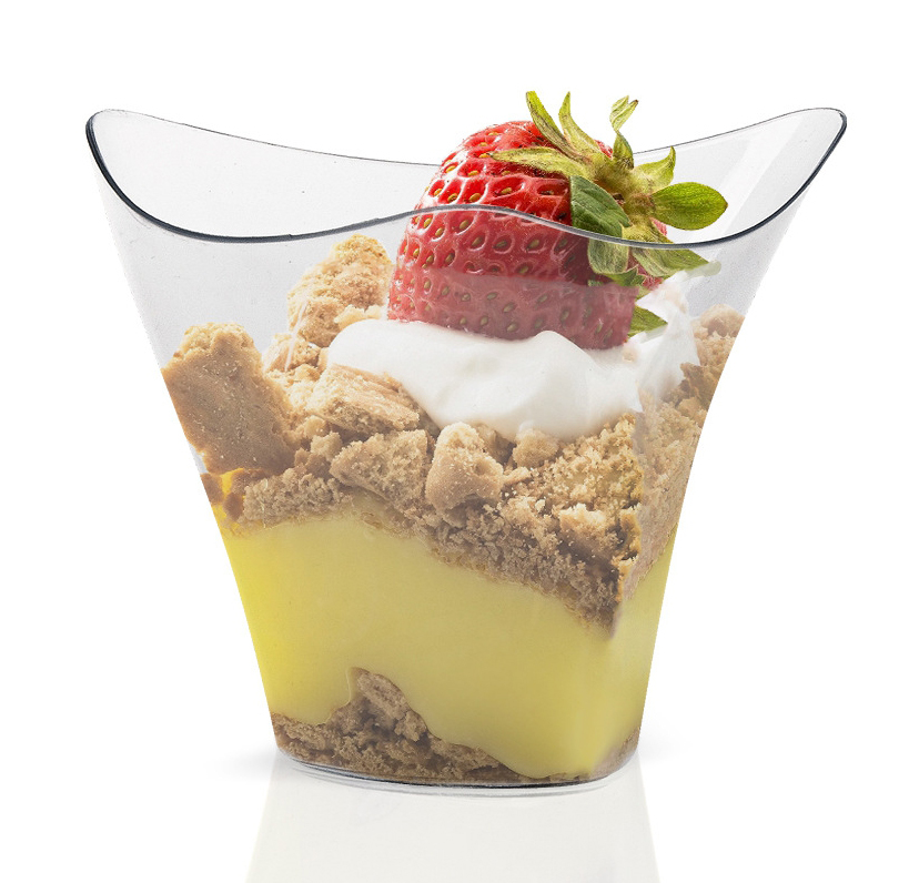Promotion - Party Wedding Supplies, Disposable Plastic Tableware, 75*62mm/100ml Mini Twisted Dessert Cup, 10/Pack