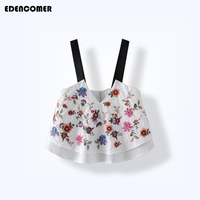 Edencomer Fashion Flower Embroidery Double Camis 2017 Summer New Women Crop Top Bustier Cropped Tank Tops
