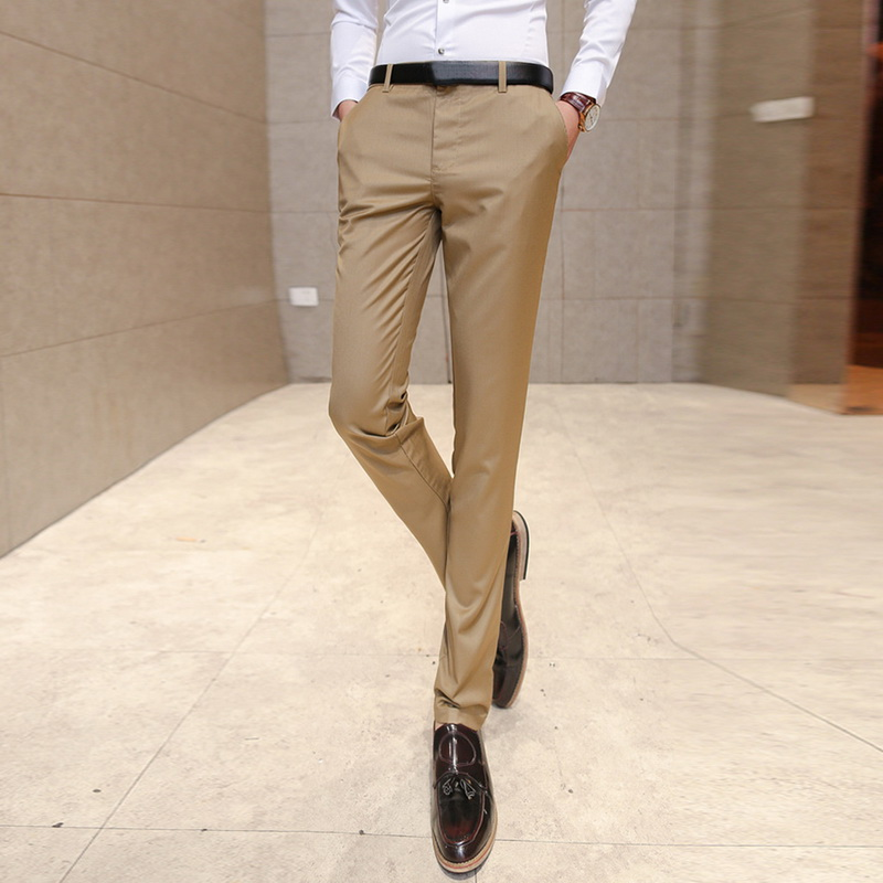 Suit Trousers Pants Business Office Casual Slim Summer Man White-Collar-Suit Feet Men