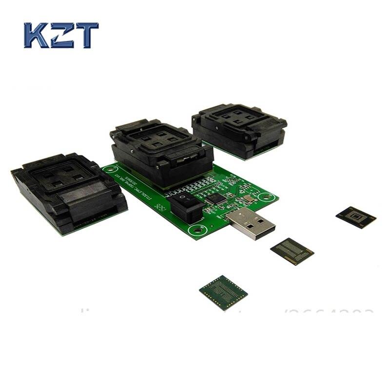 3 EM 1 Tomada Teste eMCP eMMC BGA153/169 BGA162/186 BGA221 Leitor eMMC programador Socket de Dados Flash recuperação