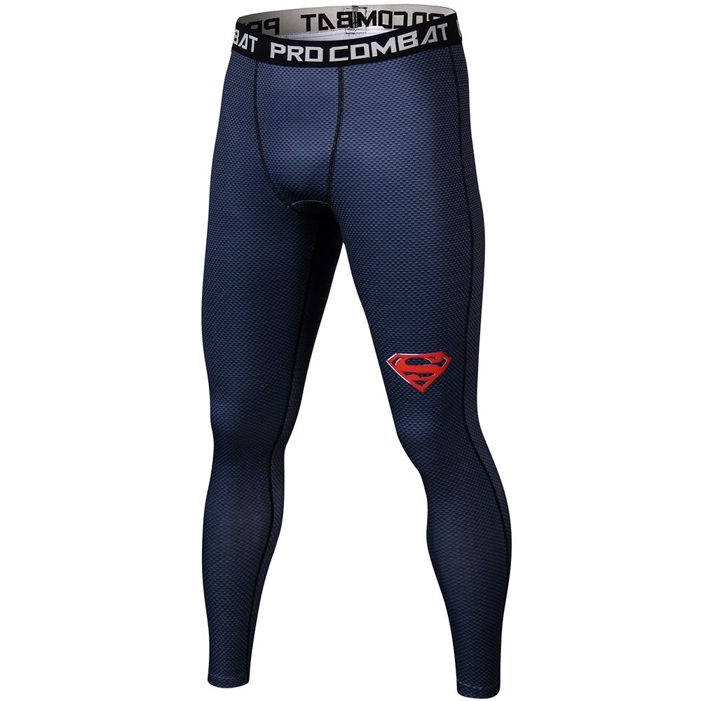 Superman 3D Printed Leggings Men Pattern Compression Tights Pants New Skinny Sweatpants Fitness Trousers Male