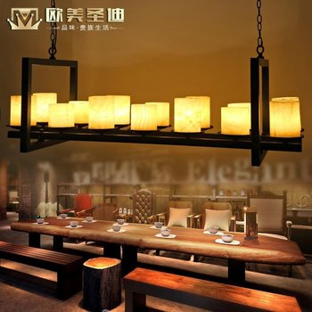 Iron restaurant pendant light marble pendant light bar lamp fashion classical light american project light chinese style candle