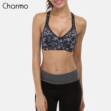 Charmo Women Sports Bra Mid Impact Support Backcross Yoga Workout Underwear Fitness Top Quick Dry Running