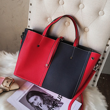 ETAILL Fashion Female Shoulder Bag High Quality Patchwork Pu Leather Handbag Ladies Large Tote Bag for Office Work Panelled Bag