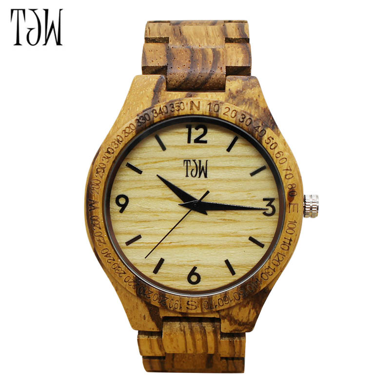 TJW Luxury Gift Full Wooden Watches Man Creative Sport Bracelet Analog Nature Bamboo Quartz Wristwatch Male Clock TT@88 цены