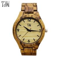 TJW Luxury Gift Full Wooden Watches Man Creative Sport Bracelet Analog Nature Bamboo Quartz Wristwatch Male