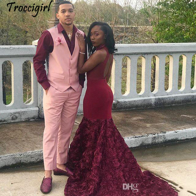 Pink 3D Flowers Mermaid Prom Dresses 2019 Sexy Maroon African Evening Formal Party Gown Black Girl Backless Pageant Dress Custom in Evening Dresses from Weddings Events