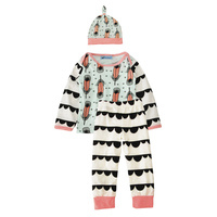 Baby Clothing Set 3pcs Feather Tops T Shirt Pants Hat Boy Clothes Outfits 2016 Autumn Baby
