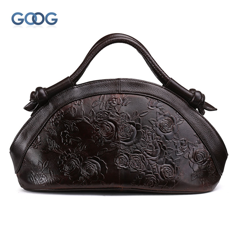 New Europe and the United States fashion oil wax head layer of leather portable retro shoulder bag heart-shaped color embossed h europe and the united states style first layer of leather lychee handbag fashion retro large capacity solid business travel bus