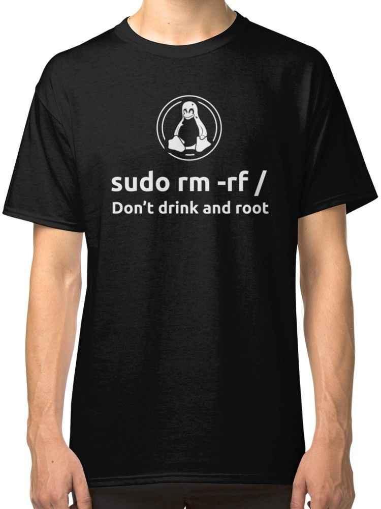 Programmeur Linux Sudo rm rf T-Shirt t-shirts vêtements T-Shirt hommes noir à manches courtes coton Hip Hop T-Shirt imprimé t-shirts 2018