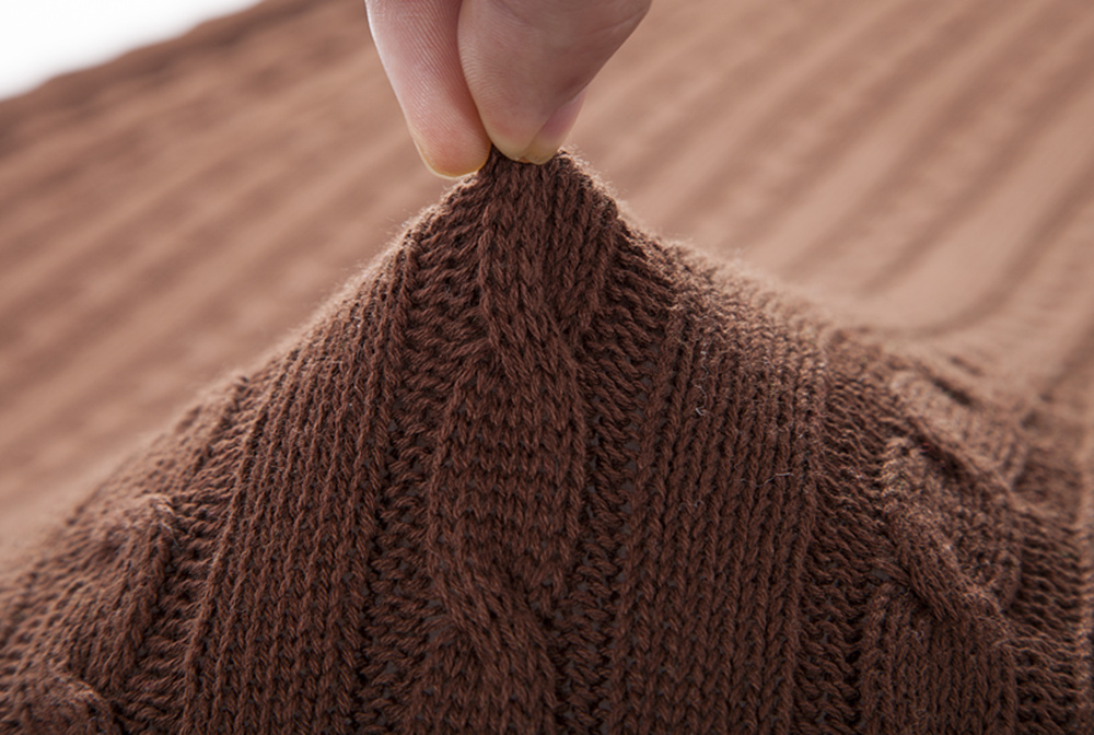 High quality 100% cotton knit blanket knit throw for sofa, bed, home brown color