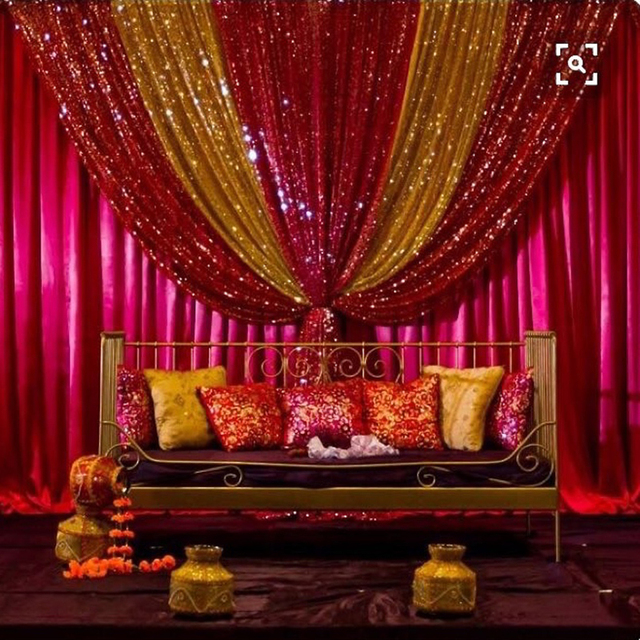 Hot pink wedding background gold and red sequin design wedding